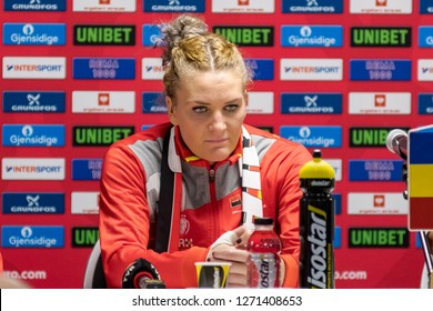 Paris, France - December 16,2018: The handball player PINTEA Crina Elena at press conference  after the game between Romania and  Holland at 2018 Women's EHF EURO - 3rd Place Final.