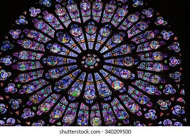 PARIS, FRANCE - DECEMBER 17, 2011: Rose window in Notre-Dame de Paris