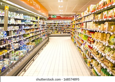 PARIS, FRANCE - DECEMBER 17 : inside of the parisian Carrefour supermarket - one of the cheapest retailers originated in France and one of the biggest world hypermarket chains on December 17th, 2012
