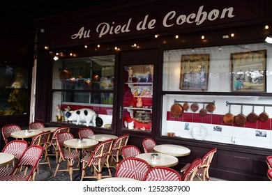 Paris; France - december 19 2017 : Au pied de cochon, a famous brasserie since 1947