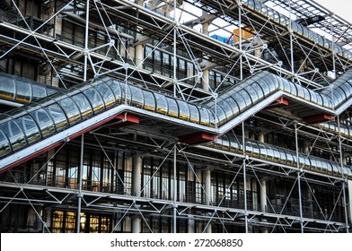 PARIS, FRANCE - DECEMBER 2, 2012: Facade of the Centre of Georges Pompidou. It is one of the most famous museums of the modern art in the world.
