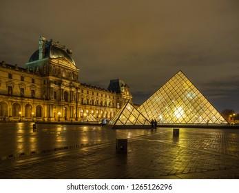 PARIS, FRANCE - DECEMBER 2 2018: The Louvre Museum in Paris the world's most visite museum