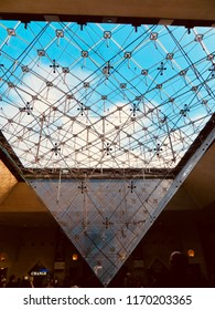 Paris / France - December 2016: view of the Louvre Museum (Musee du Louvre) and the famous Inverted Pyramid.