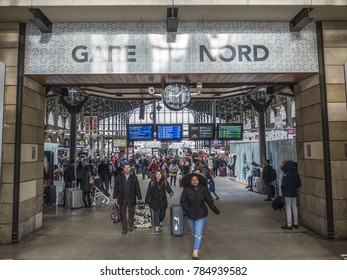 PARIS, FRANCE- DECEMBER, 2017: Main entrance and sign of busy Gare Du Nord train station in Paris linking UK and France via the Eurostar