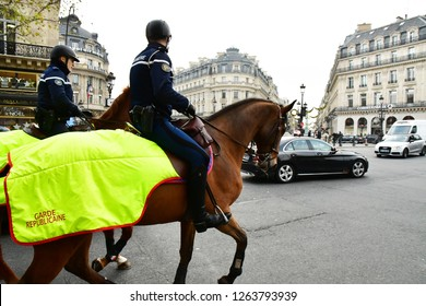Paris; France - december 2017 : the mounted police on Capucines boulevard