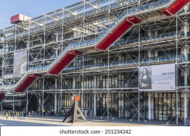 PARIS, FRANCE - DECEMBER 22, 2014: Centre Georges Pompidou (1977) was designed in style of high-tech architecture. It houses library, National Art Modern museum and IRCAM.