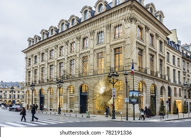 PARIS, FRANCE - DECEMBER 22, 2017: View of French luxury fashion house Louis Vuitton. Flagship store opened in heart of Place Vendome - a place where Louis Vuitton founded his first store in 1854.