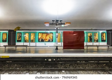 PARIS, FRANCE - DECEMBER 22, 2017: Paris metro underground Porte de Pantin (Parc de la Villette) tube station. Paris Metro is one of biggest metro systems in the world.