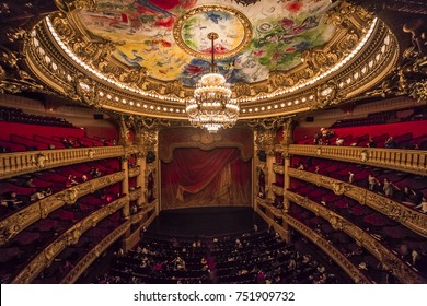 PARIS, france,  DECEMBER 22 : An interior view of Opera de Paris, Palais Garnier, It was built from 1861 to 1875 for the Paris Opera house an is shown on DECEMBER 22, 2012 in Paris.