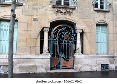 PARIS, FRANCE, December 24, 2019: Door in Art Nouveau style of the Castel Beranger, designed by Hector Guimard, in Paris, France