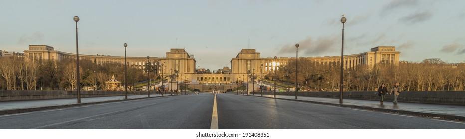 PARIS, FRANCE - DECEMBER 25, 2014:  Panoramic view of Palais de Chaillot