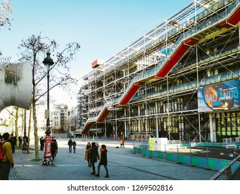 PARIS, FRANCE - DECEMBER 25, 2018: Centre Georges Pompidou, It was designed in the style of high-tech architecture
