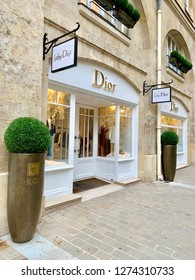 Paris, France- December 28, 2018: Exterior of Dior and Baby Dior store at rear of 25 Rue Royale in Paris