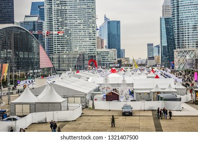 PARIS, FRANCE - DECEMBER 29, 2018: Christmas and New Year's fair on the famous business district of Defense to the west of Paris.
