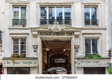 PARIS, FRANCE - DECEMBER 30, 2015: Grand-Cerf covered arcade was created in 1825, not far from Turbigo (Montorgueil district). It is almost 12m tall, making it one of largest covered arcades in Paris.