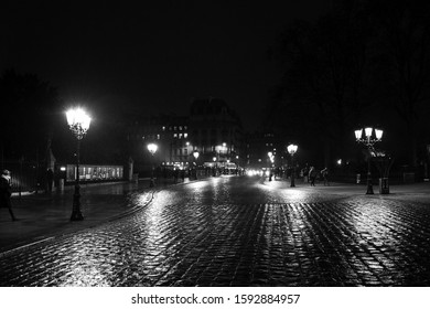 PARIS, FRANCE - DECEMBER 30, 2018:  View of Pont au Double (bridge leading to Notre Dame cathedral) and Seine river left bank at rainy evening. Wet cobblestone. Beautiful reflection. Black white photo