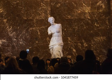 PARIS, FRANCE - DECEMBER 30: Venus of Milo statue on December 30, 2016 in Louvre Museum, Paris, France