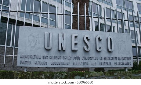 PARIS, FRANCE - DECEMBER, 31, 2016. UNESCO sign board