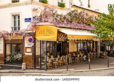 Paris, France - December 3,2018 - Cafe at Montmartre in Paris