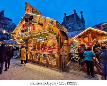 PARIS, FRANCE - DECEMBER 5, 2018: Traditional stalls at the Tuileries Garden Christmas Market in Paris