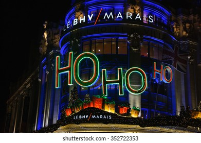 PARIS, FRANCE - DECEMBER 6, 2015: HO HO HO (Santa laughter) as part of Christmas decoration of BHV department store (located near Hotel de Ville City Hall) attracting Parisian children and tourists.