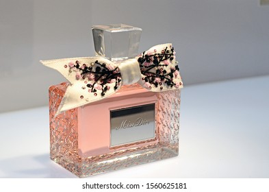 Paris, France - December 8, 2017: A close up of perfumes' jar at the famous exhibition Christian Dior, Designer of Dreams.
