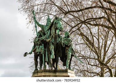 Paris, France - December 8, 2017: Statue of Charlemagne (Charles the Great) king of the Frank and Emperor of the Romans, situated just outside Notre Dame Cathedral by artists Charles and Louis Rochet.