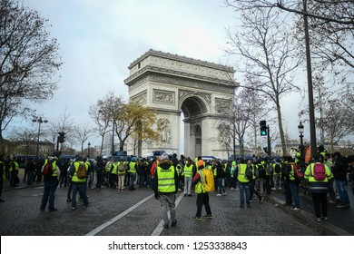 Paris, France - December 8, 2018: Yellow Vests (Gilets jaunes) protests against living costs and rising oil prices