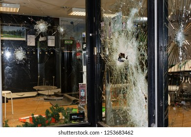 Paris, France, December 8, 2018 - During the protest of the yellow vests protesters broke the windows of banks and shops and at the evening the thugs looted several stores