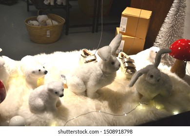 Paris, France - December 9th 2018 : Teddy rabbits in a shop windows, for christmas.