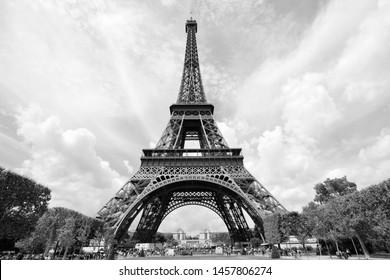 Paris, France - Eiffel Tower. Vintage style black and white.
