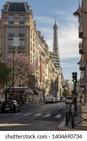 Paris, France, Europe :  2019/04 : - Tour Eiffel (Eiffel Tower) (15 mins walk ) viewed from the  intersection of Rue Saint Charles and Rue Rouelle in Grenelle  Paris 15th area.