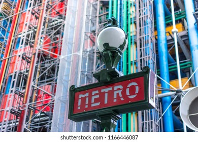 Paris, France, Europe - September 16, 2017:  Centre Pompidou or Pompidou Center and surrounding and metro station