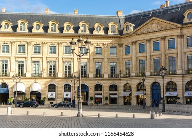 Paris, France, Europe - September 16, 2017:  Place Vendome in the center of Paris, Vendome Column or Austerlitz column