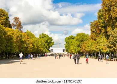 Paris, France, Europe - September 16, 2017: The Tuileries Garden, a public garden located between the Louvre and the Place de la Concorde