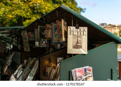 Paris, France, Europe - September 16, 2017: Small book, press and souvenir station on the banks of the Seine in the center of Paris