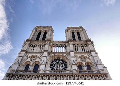 PARIS, FRANCE, exterior of the famous Notre Dame de Paris, Gothic example of Rayonnant architecture