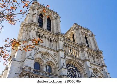 Paris, France, famous Notre Dame cathedral. UNESCO World Heritage Site.
