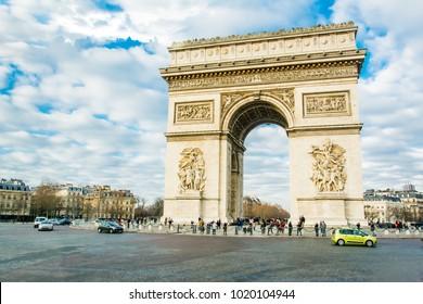 Paris, France. Feb 02, 2018: Landscape view of Arc de Triomphe at Place de l'Etoile. The Triumphal Arch is one of the most famous monuments in Paris.