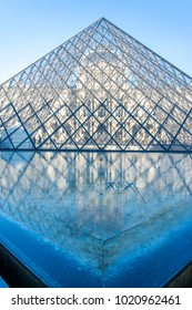 Paris, France - Feb 02, 2018: The Louvre museum pyramid. Louvre is consistently the most visited museum worldwide.