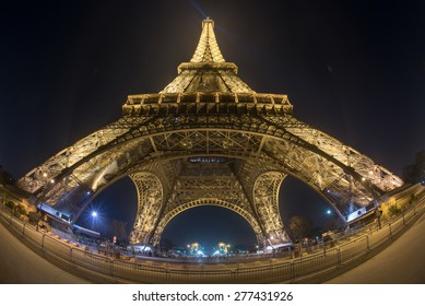 PARIS, FRANCE - FEB 13, 2015: The Eiffel Tower is one of the world's most famous landmark. It is also one of the most visited place in Paris, France.