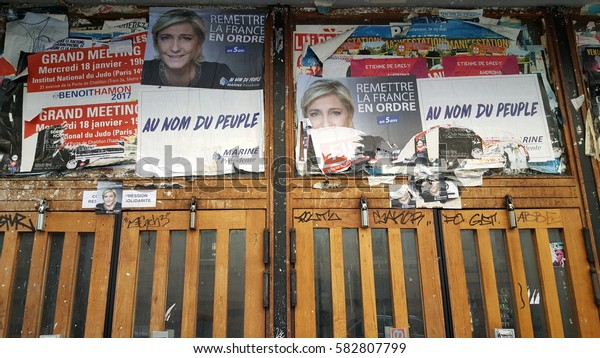 PARIS, FRANCE - FEB 19, 2017 : Poster of the candidate of the president election 2017 in France