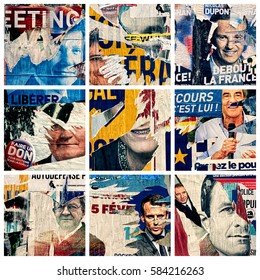 PARIS, FRANCE - FEB 20, 2017 : Nine images illustrating the french elections showing some scratched posters on the walls - Editorial, Illustrative.