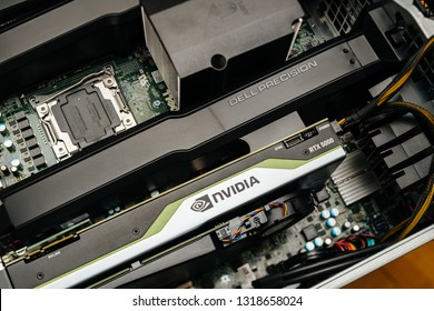 Paris, France - Feb 20, 2019: latest Nvidia Quadro RTX 5000 workstation professional video card GPU for professional CAD CGI scientific machine learning in Dell Precision T7910 workstation