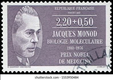 Paris, France - Feb.21, 1987: Jacques Lucien Monod (1910-1976),French biochemist who won the Nobel Prize in Physiology or Medicine in 1965. Stamp issued by French post in 1987.