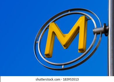 PARIS, FRANCE, FEBRUARY 02, 2014: Metro sign in La Defense area