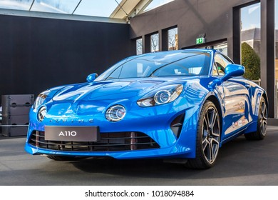 PARIS, FRANCE - FEBRUARY 04, 2018: Alpine A110, the most beautiful car of 2017 is shown at the Concept Cars Exhibition and Automobile Design in Paris on February 04, 2018.