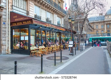 PARIS, FRANCE - FEBRUARY 05, 2016: Typical bar in the old town of Paris, France, Paris is one of the most populated metropolitan areas in Europe full of bars and cafes.