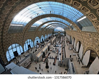 Paris, France - February 05 2019 Wide angle wiev of interior of Gare d'Orsay Museum