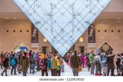 PARIS, FRANCE - FEBRUARY 06, 2016: The Inverted Pyramid in louver museum